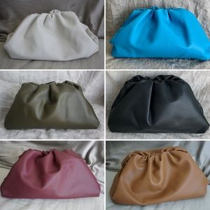 100% Calf Leather Large Cloud Pouch Clutch Bag